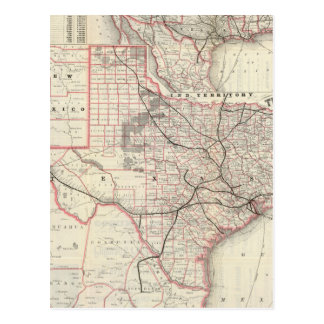 Vintage Map of The Texas Railroad System (1885) Postcard
