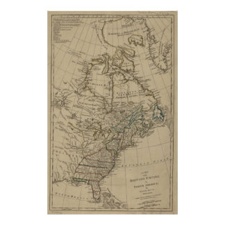 Vintage Map of The Thirteen Colonies (1774) Poster