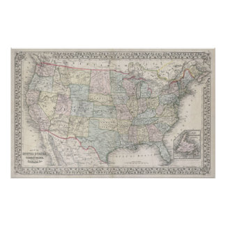 Vintage Map of The United States (1867) Poster