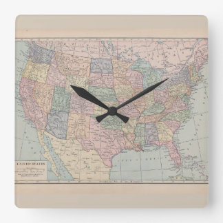 Vintage Map of The United States of America Clock