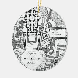 Vintage Map of The Vatican (1914) Ceramic Ornament