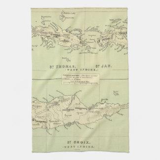 Vintage Map of The Virgin Islands (1853) Kitchen Towel