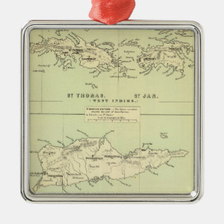 Vintage Map of The Virgin Islands (1853) Metal Ornament