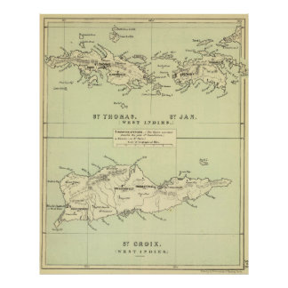 Vintage Map of The Virgin Islands (1853) Poster