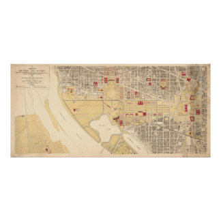 Vintage Map of The Washington D.C. Mall (1917) Poster