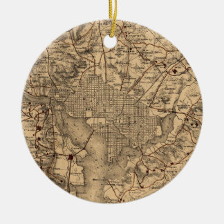 Vintage Map of The Washington DC Area (1865) Ceramic Ornament