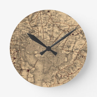 Vintage Map of The Washington DC Area (1865) Round Clock