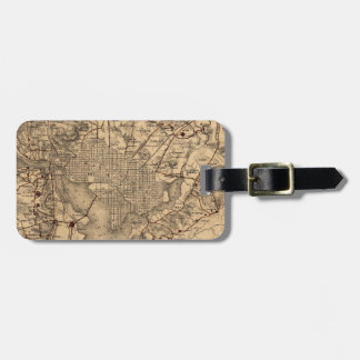 Vintage Map of The Washington DC Area (1865) Tag For Luggage