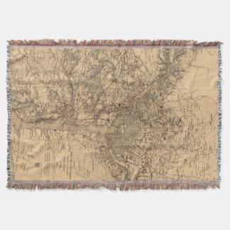 Vintage Map of The Washington DC Area (1865) Throw Blanket