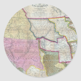Vintage Map of The Western United States (1846) Classic Round Sticker
