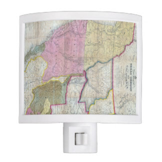 Vintage Map of The Western United States (1846) Night Lights