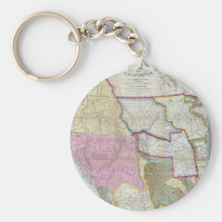 Vintage Map of The Western United States (1846) Basic Round Button Keychain