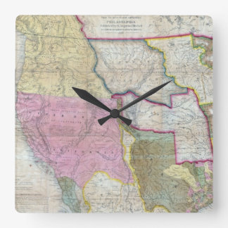 Vintage Map of The Western United States (1846) Square Wall Clock