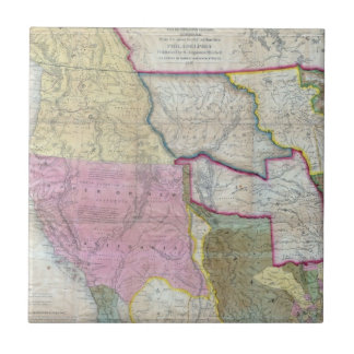 Vintage Map of The Western United States (1846) Small Square Tile