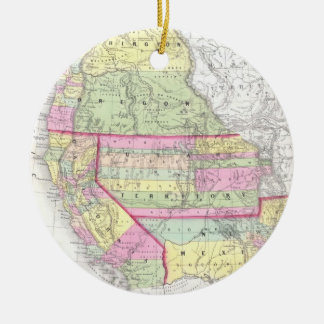 Vintage Map of The Western United States (1853) Ceramic Ornament