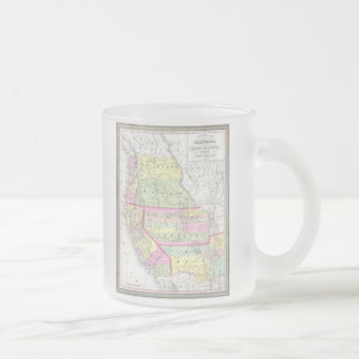 Vintage Map of The Western United States (1853) Frosted Glass Coffee Mug