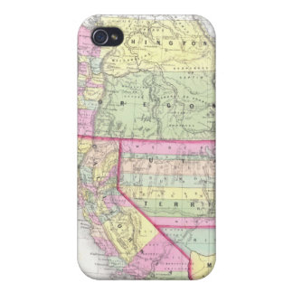 Vintage Map of The Western United States (1853) iPhone 4 Covers