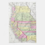 Vintage Map of The Western United States (1853) Hand Towel