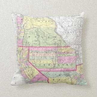 Vintage Map of The Western United States (1853) Throw Pillows