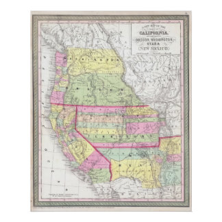 Vintage Map of The Western United States (1853) Posters
