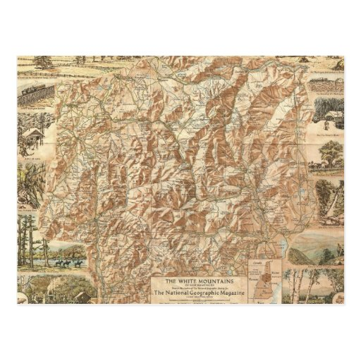 Vintage Map of The White Mountains (1937) Postcard