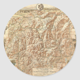 Vintage Map of The White Mountains (1937) Classic Round Sticker