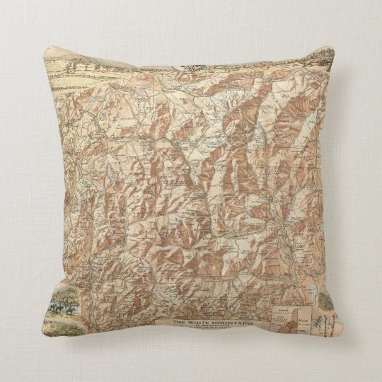 Vintage Map of The White Mountains (1937) Throw Pillow