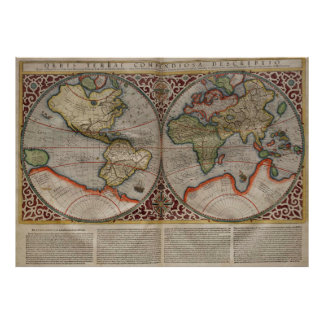 Vintage Map of The World (1587) Poster