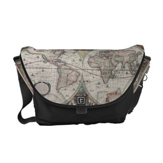 Vintage Map of The World (1630) Courier Bag