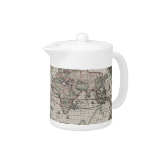 Vintage Map of The World (1630) Teapot