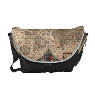 Vintage Map of The World (1641) Messenger Bag