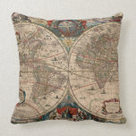 Vintage Map of The World (1641) Throw Pillow