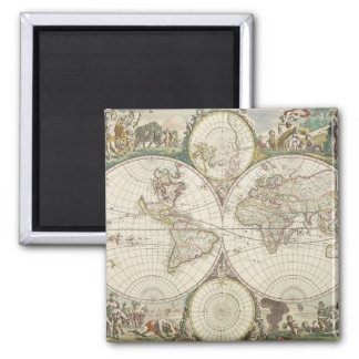 Vintage Map of The World (1680) Magnet