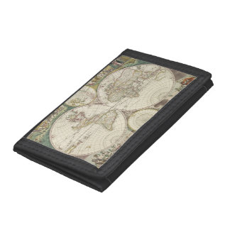 Vintage Map of The World (1680) Tri-fold Wallets