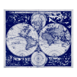 Vintage Map of The World (1685) Blue & White Poster