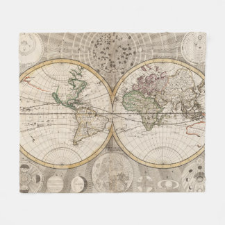Vintage world map throw fleece custom blankets zazzle vintage map of the world 1687 fleece blanket gumiabroncs Image collections