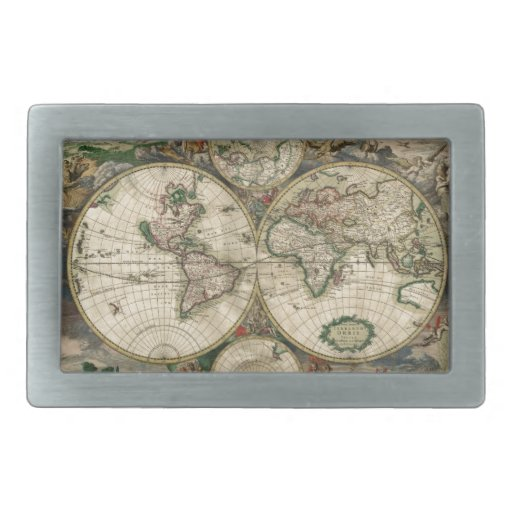 Vintage Map of The World (1689) Belt Buckles