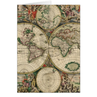 Vintage Map of The World (1689) Card