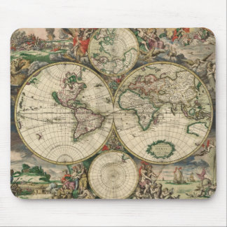 Vintage Map of The World (1689) Mouse Pad