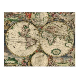 Vintage Map of The World (1689) Postcard
