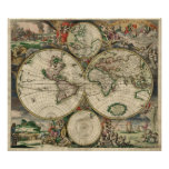 Vintage Map of The World (1689) Poster