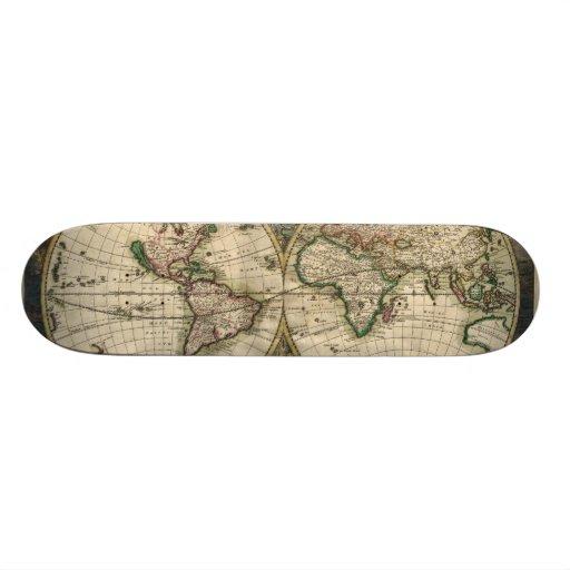 Vintage Map of The World (1689) Custom Skate Board
