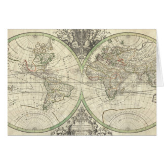 Vintage Map of The World (1691) Card
