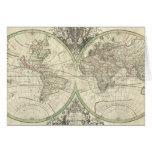 Vintage Map of The World (1691) Greeting Card