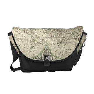 Vintage Map of The World (1691) Messenger Bag