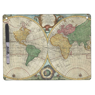 Vintage Map of The World (1744) Dry Erase Board With Keychain Holder