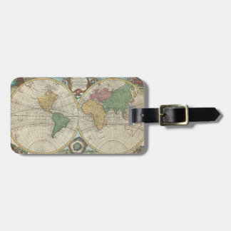 Vintage Map of The World 1744 Tags For Luggage