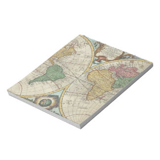 Vintage Map of The World (1744) Notepad