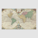 Vintage Map of The World (1744) Rectangle Sticker