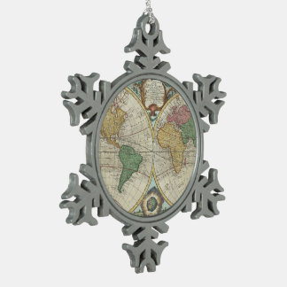Vintage Map of The World (1744) Snowflake Pewter Christmas Ornament